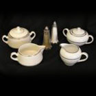 Cream & Sugar Set – Ivory w/ Double Gold Band