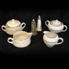 Cream & Sugar Set – Ivory w/ Double Gold Band