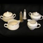 Cream & Sugar Set – White w/ Double Silver Band