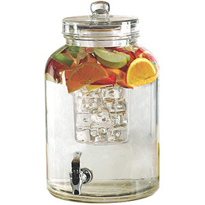 Glass Drink Dispenser with Fruit & Ice Inserts 2.64gal